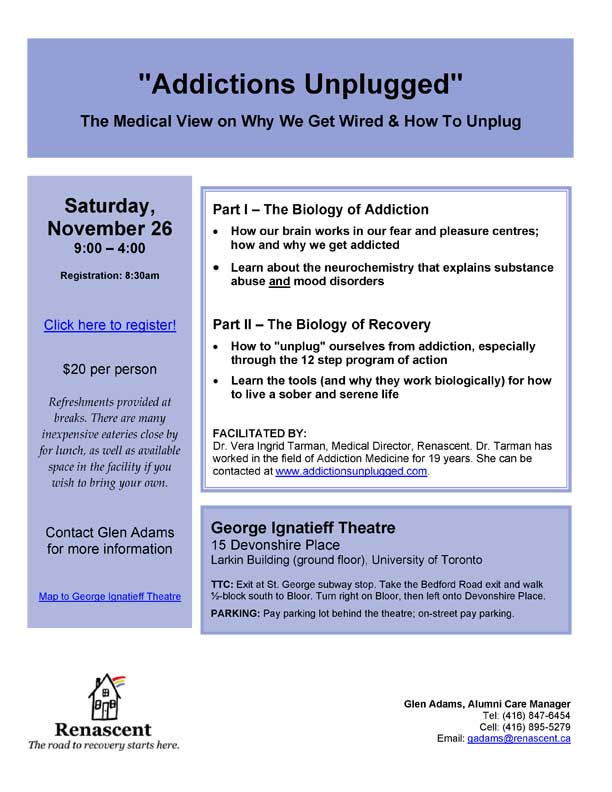 The Biology of Addiction, the Biology of Recovery, November 26, 2011